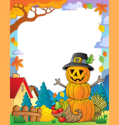 Thanksgiving theme frame 3 vector