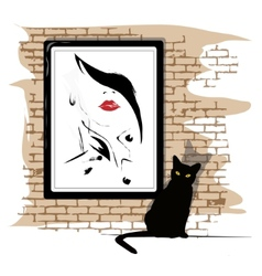 The girls portrait on a wall vector image