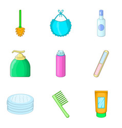 Toilet articles icons set cartoon style vector