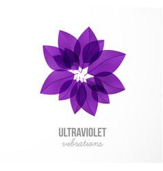 Ultraviolet purple grunge leaves in circle vector