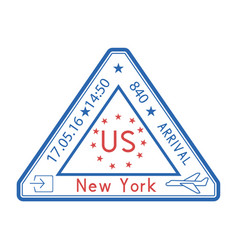 Usa triangle travel stamp for passport red and vector