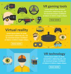 virtual reality banner horizontal set flat style vector image