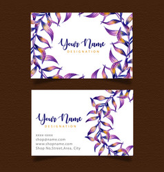 watercolor leaf business card vector image