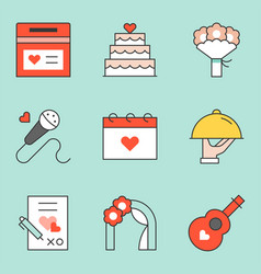 wedding organizer icon set filled outline icon vector image