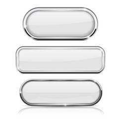 White oval buttons with chrome frame vector