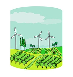 Wind power on a green meadow vector image