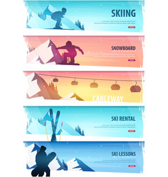 Winter sport cableway ski pass set of ski vector