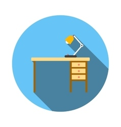 Wooden office desk with lamp flat style vector image