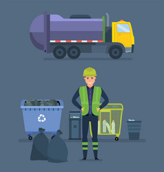 Worker collect garbage in garbage truck vector