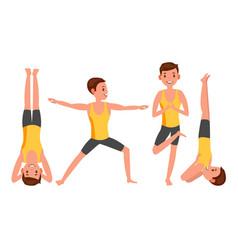yoga man poses set male yoga figures vector image