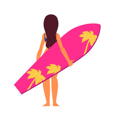 young woman surfer in cartoon style standing vector image