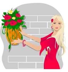 Young woman with flowers vector image