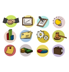 business doodle icon set vector image vector image