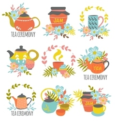 Tea Ceremony Hand Drawn Emblems vector image vector image