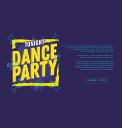 dance party 90s influenced typographic web banner vector image vector image