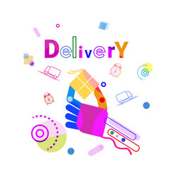 hand holding box delivery concept fast courier vector image vector image