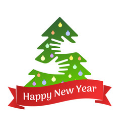 happy new year ribbon and tree with hands greeting vector image