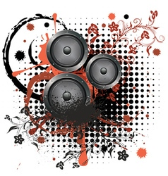 Sound Speaker with Floral2 vector image vector image
