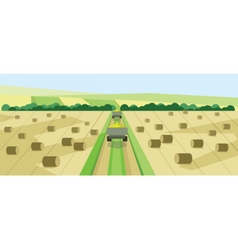 abstract landscape with harvesting vehicles vector image