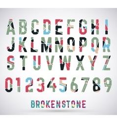 Alphabet broken font vector