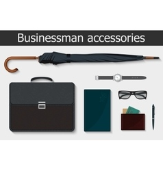 Businessman stuff and accessories icons set vector image vector image