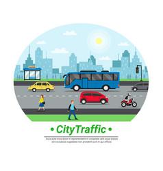 city street traffic flat circle vector image