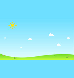 hill with sun and sky background vector image vector image