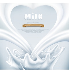 Milk splash in the form of heart on a gray backgro vector image vector image