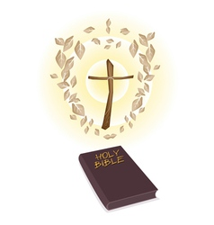 A Brown Holy Bible with A Wooden Cross vector image vector image