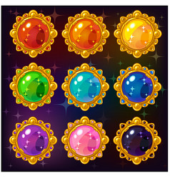 cartoon colorful circle gemstones vector image