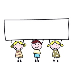 children holding banner vector image vector image