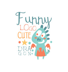 funny cute dragon logo baby shop label fashion vector image vector image