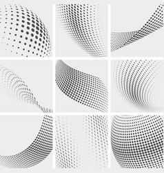 Halftone dots group pointing abstract vector