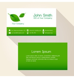 simple nature green leaf business card design vector image vector image