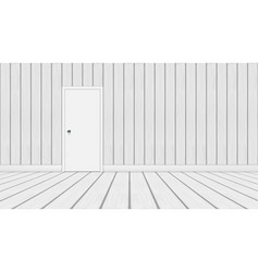 3d minimalistic wood room with white door vector image