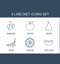 6 diet icons vector