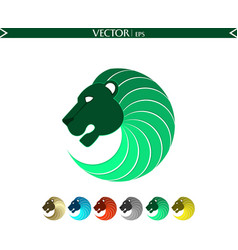 abstract lion logo green edition vector image