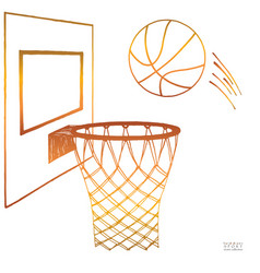 Action of basketball going vector