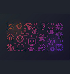 Ai technology colored horizontal banner vector