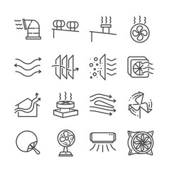 Airflow line icon set vector