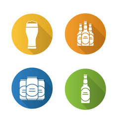 Beer flat design long shadow icons set vector