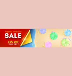 biggest weekend sale top view seashore with vector image