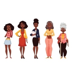 Black women of different ages from youth to vector image