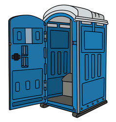 Blue opened mobile toilet vector