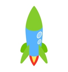 Blue rocket icon isometric 3d style vector image