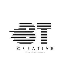 Bt b t zebra letter logo design with black and vector