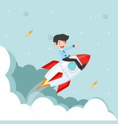 businessman sitting on on a flying rocket vector image