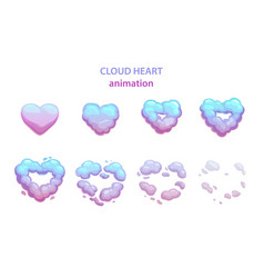 Cartoon cloud heart explosion vector