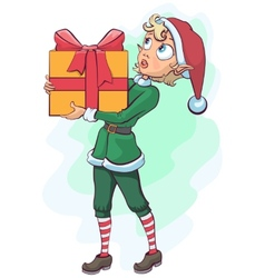 Christmas elf delivers a box with a gift vector