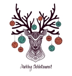 Colored Christmas Deer vector image
